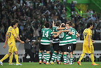 20120329: LISBON, PORTUGAL - Football - UEFA Europe League 2011/2012 - Quarter-finals, First leg: Sporting CP vs Metalist<br />In picture: Sporting's Marat Izmailov, from Russia, celebrates with teammates after scoring their opening goal.<br />PHOTO: Alvaro Isidoro/CITYFILES