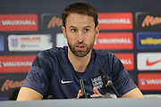 Gareth Southgate, U21 England Manager speaking at the Press Conference 13NOV15 ahead of the match against Switzerland, at the American Express Elite Football Performance Centre, Brighton and Hove, England on 13 November 2015.