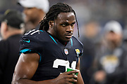 ARLINGTON, TX - OCTOBER 14:  Jamaal Charles #31 of the Jacksonville Jaguars on the sidelines during a game against the Dallas Cowboys at AT&T Stadium on October 14, 2018 in Arlington, Texas.  The Cowboys defeated the Jaguars 40-7.  (Photo by Wesley Hitt/Getty Images) *** Local Caption *** Jamaal Charles