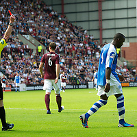 Hearts v St Johnstone...04.08.12<br /> Gregory Tade is sent off by ref Stevie O'Reilly<br /> Picture by Graeme Hart.<br /> Copyright Perthshire Picture Agency<br /> Tel: 01738 623350  Mobile: 07990 594431