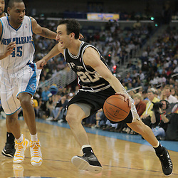29 March 2009: San Antonio Spurs guard Manu Ginobili (20) drives past New Orleans Hornets guard Rasual Butler (45) during a 90-86 victory by the New Orleans Hornets over Southwestern Division rivals the San Antonio Spurs at the New Orleans Arena in New Orleans, Louisiana.