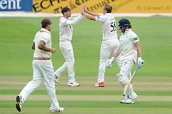 Hamish Marshall of Gloucestershire is bowled by Tom Curran of Surrey for 0 runs - Mandatory byline: Dougie Allward/JMP - 07966386802 - 21/08/2015 - Cricket - County Ground -Bristol,England - Gloucestershire CCC v Surrey CCC - LV= COUNTY CHAMPIONSHIP