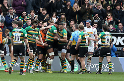 Northampton Saints celebrate Courtney Lawes of Northampton Saints scoring a try - Mandatory by-line: Robbie Stephenson/JMP - 27/03/2016 - RUGBY - Franklin's Gardens - Northampton, England - Northampton Saints v Harlequins - Aviva Premiership
