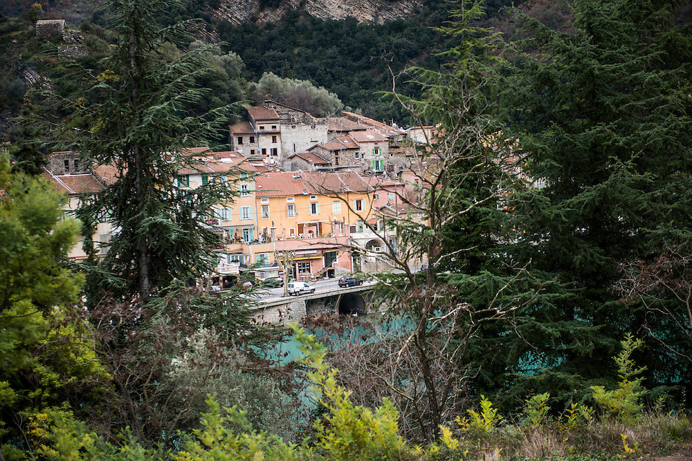 December 5, 2016 - Breil-sur-Roya, France: the traditional old well preserved mountain village Breil-sur-Roya in the Roya valley, in the Alps, on the French Italian border, where habitats formed a network to help migrants who walked into the valley from Ventimiglia, Italy. <br /> <br /> 5 d&eacute;cembre 2016 - Breil-sur-Roya, France: 120 habitants de l'ancien village historique de montagne, traditionnel et pr&eacute;serv&eacute; Breil-sur-Roya, dans la vall&eacute;e de la Roya, dans les Alpes, &agrave; la fronti&egrave;re entre la France et l'Italie, ont form&eacute; un r&eacute;seau pour aider les migrants venus de Ventimiglia, Italie