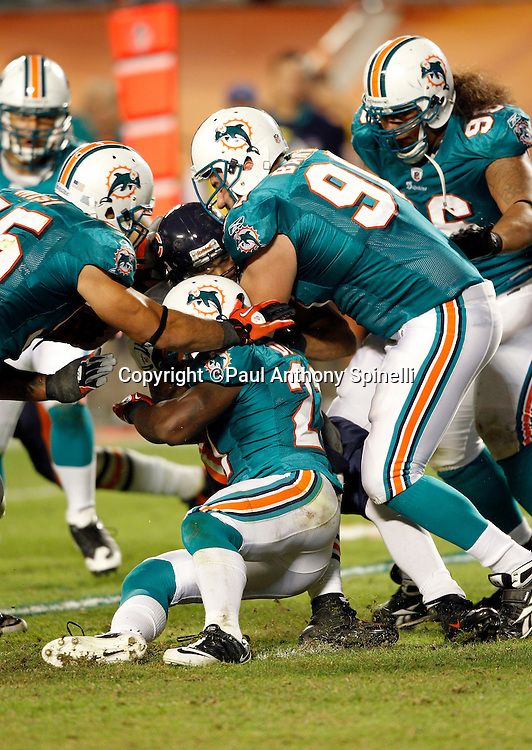 Chicago Bears running back Matt Forte (22) gets gang tackled by Miami Dolphins linebacker Koa Misi (55), Miami Dolphins cornerback Vontae Davis (21), and Miami Dolphins defensive end Ryan Baker (90) during the fourth quarter during the NFL week 11 football game against the Miami Dolphins on Thursday, November 18, 2010 in Miami Gardens, Florida. The Bears won the game 16-0. (©Paul Anthony Spinelli)