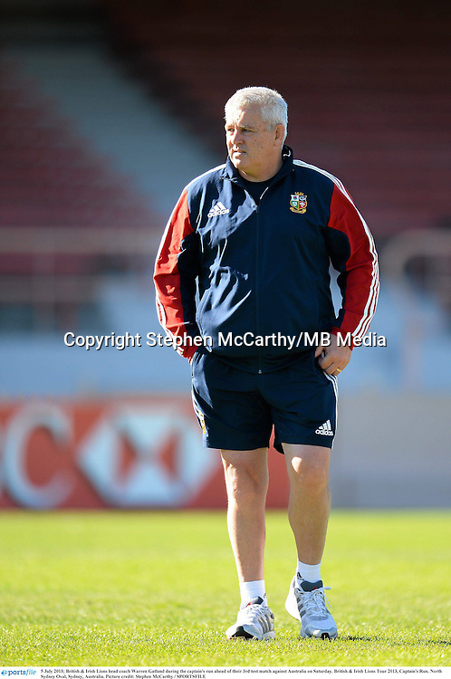 5 July 2013; British & Irish Lions head coach Warren Gatland during the captain's run ahead of their 3rd test match against Australia on Saturday. British & Irish Lions Tour 2013, Captain's Run. North Sydney Oval, Sydney, Australia. Picture credit: Stephen McCarthy / SPORTSFILE