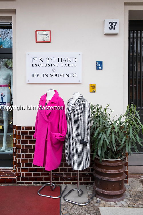 Display outside clothes boutique in Prenzlauer Berg, Berlin, Germany