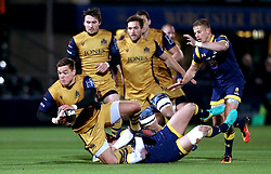 Gareth Maule of Bristol Rugby is tackled - Mandatory by-line: Robbie Stephenson/JMP - 04/11/2016 - RUGBY - Sixways Stadium - Worcester, England - Worcester Warriors v Bristol Rugby - Anglo Welsh Cup