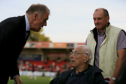 Sir Geoff Hurst chats to a disabled supporter - Mandatory by-line: Paul Roberts/JMP - 23/08/2017 - FOOTBALL - LCI Rail Stadium - Cheltenham, England - Cheltenham Town v West Ham United - Carabao Cup