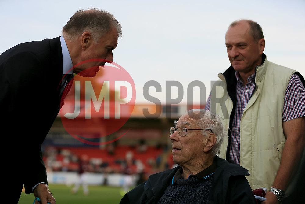 Sir Geoff Hurst chats to a disabled supporter - Mandatory by-line: Paul Roberts/JMP - 23/08/2017 - FOOTBALL - LCI Rail Stadium - Cheltenham, England - Cheltenham Town v West Ham United - Carabao Cup