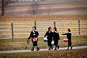 Amish girls walk home from school in Gordonville, PA.