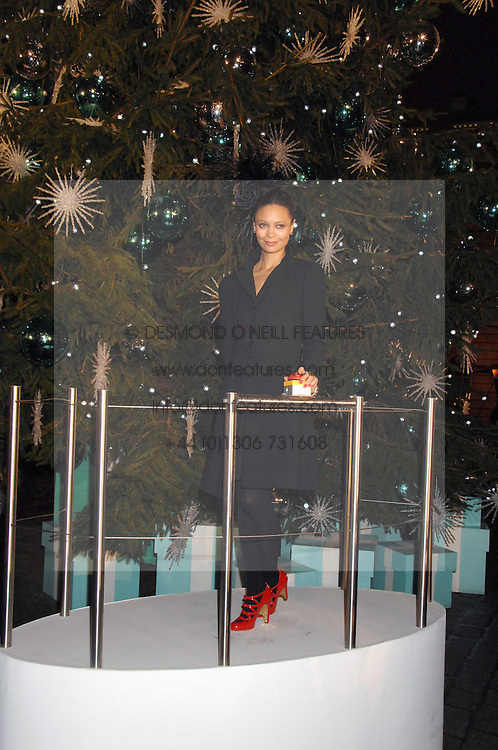 Actress THANDIE NEWTON switching on the Tiffany Christmas Tree lights at a Winter Party to celebrate the opening of the Ice Rink at Somerset House, London in association with jewellers Tiffany on 20th November 2007.<br />