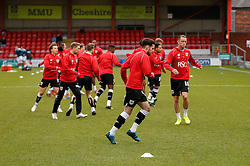 Aaron Wilbraham of Bristol City and his teammates in action during the warm up - Photo mandatory by-line: Rogan Thomson/JMP - 07966 386802 - 20/12/2014 - SPORT - FOOTBALL - Crewe, England - Alexandra Stadium - Crewe Alexandra v Bristol City - Sky Bet League 1.