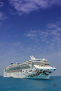 The Norwegian Gem is moored just off the coast of Great Stirrup Cay in the Bahamas