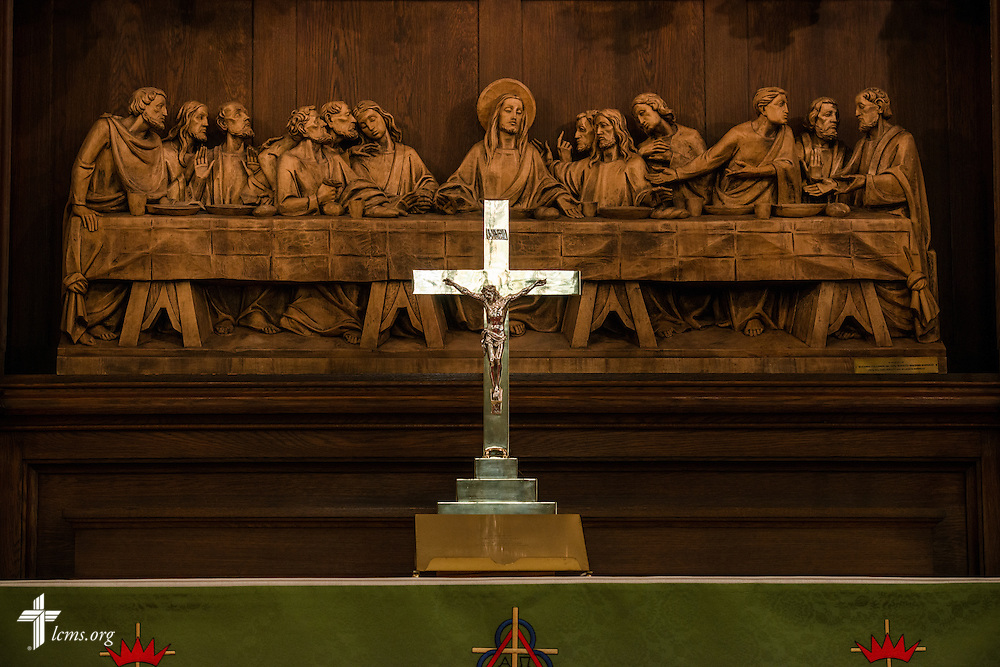 The altar and crucifix at Trinity Lutheran Church on Wednesday, July 15, 2015, in Danville, Ill. LCMS Communications/Erik M. Lunsford
