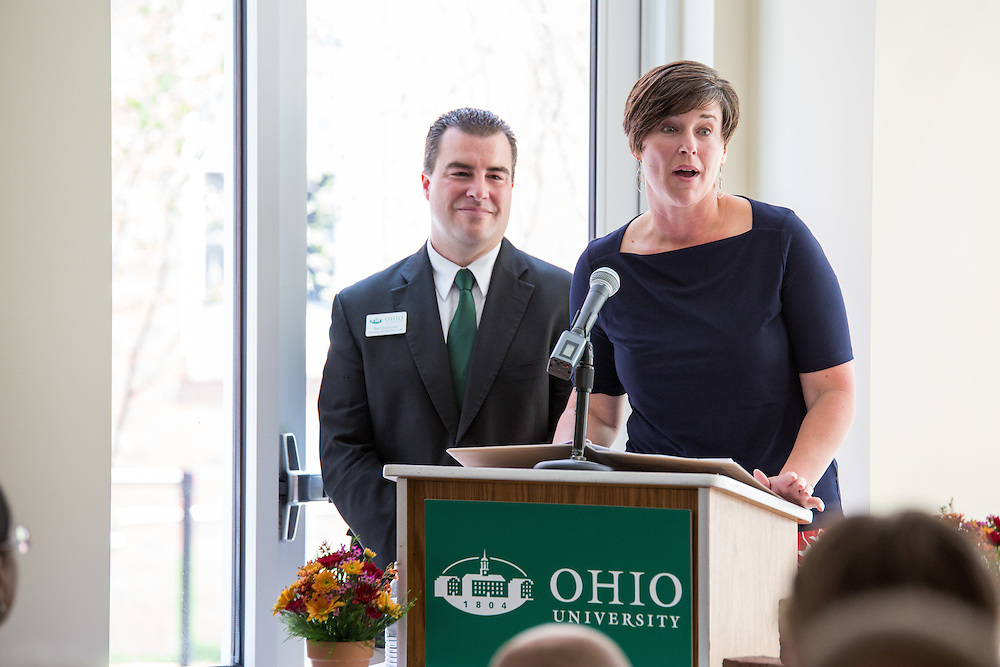 Jenny Hall-Jones, vice president for student affairs, speaks at the new residential hall grand opening on Sat. August 29, 2015.