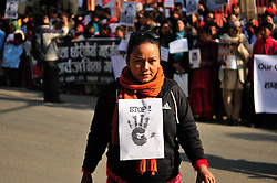 Nepalese demonstrators attend the protest against sexual violence in Kathmandu, Nepal, Jan. 1, 2013. Nepalese lawyers, journalists, students, businessmen and social workers participated in the protest against sexual violence Tuesday,  January 1, 2013. Photo by Imago / i-Images...UK ONLY