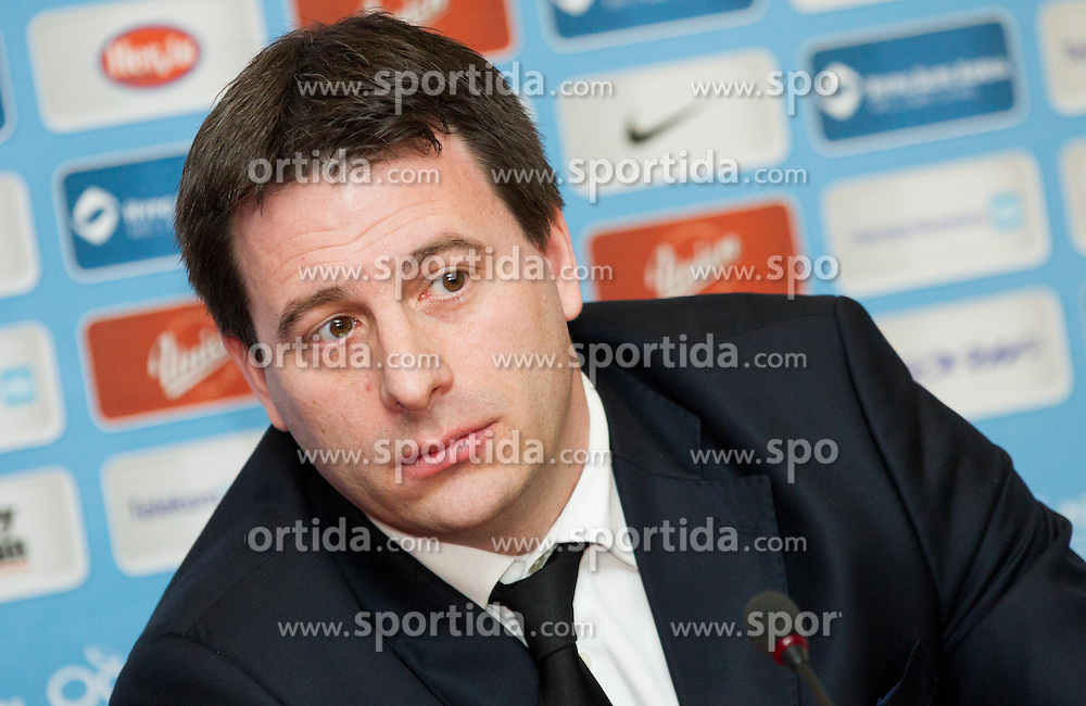 Ales Zavrl, secretary general of NZS during press conference of Football Association of Slovenia (NZS) on January 22, 2013 in Austria Trend Hotel, Ljubljana, Slovenia. (Photo By Vid Ponikvar / Sportida.com)