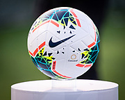 A game ball is displayed on the field before the Mexico vs Cuba game for a CONCACAF Gold Cup soccer match in Pasadena, Calif., Saturday, June 15, 2019. Mexico defeated Cuba 7-0. (Ed Ruvalcaba/Image of Sport)