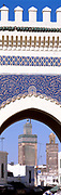 Vertical panoramic view of the Blue Gate, Fez