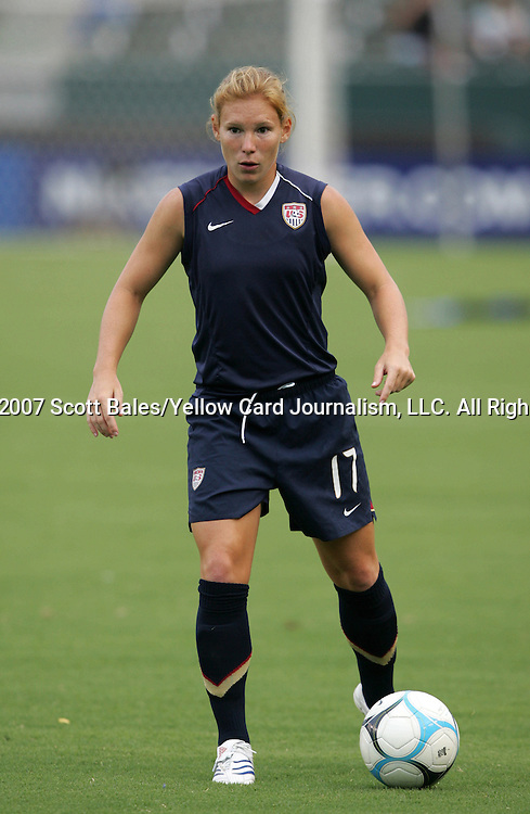 25 August 2007: Lori Chalupny. The United States Women's National Team defeated the Women's National Team of Finland 4-0 at the Home Depot Center in Carson, California in an International Friendly soccer match.