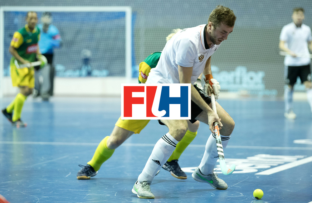 BERLIN - Indoor Hockey World Cup<br /> Men: Russia - South Africa<br /> foto: LOGINOV Iaroslav<br /> COPYRIGHT WILLEM VERNES