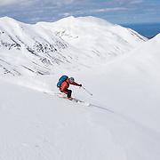 Jökull Bergmann skiing mt. Darri 748m. Hvalvatnsfjörður, Iceland.