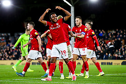 Niclas Eliasson of Bristol City celebrates after Famara Diedhiou of Bristol City scores a goal to make it 0-2 - Rogan/JMP - 07/12/2019 - Craven Cottage - London, England - Fulham v Bristol City - Sky Bet Championship.