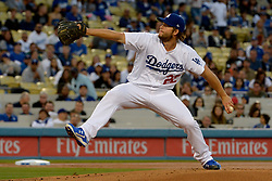 April 14, 2017 - Los Angeles, California, U.S. - Los Angeles Dodgers starting pitcher Clayton Kershaw throws to the plate against the Arizona Diamondbacks in the first inning of a Major League baseball game at Dodger Stadium on Friday, April 14, 2017 in Los Angeles. (Photo by Keith Birmingham, Pasadena Star-News/SCNG) (Credit Image: © San Gabriel Valley Tribune via ZUMA Wire)