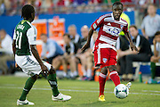 FRISCO, TX - JUNE 26:  Jair Benitez #5 of FC Dallas crosses the ball against the Portland Timbers on June 26, 2013 at FC Dallas Stadium in Frisco, Texas.  (Photo by Cooper Neill/Getty Images) *** Local Caption *** Jair Benitez