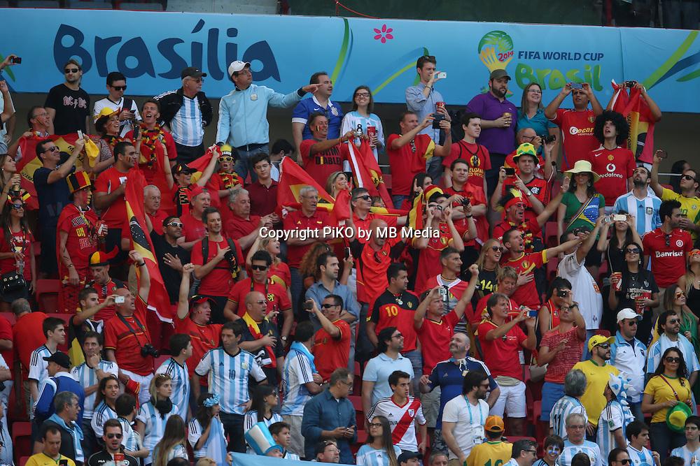 Fifa Soccer World Cup - Brazil 2014 - <br /> ARGENTINA (ARG) Vs. BELGIUM (BEL) - Quarter-finals - Estadio Nacional Brasilia -- Brazil (BRA) - 05 July 2014 <br /> Here Argentine and Belgian supporters.<br /> &copy; PikoPress