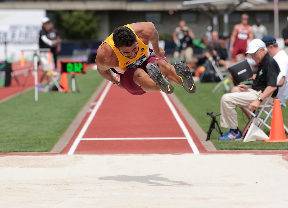Luca Wieland heads toward the pit in the long jump during the men's decathlon on the first day of the NCAA college track and field championships in Eugene, Ore. on Wednesday, June 7, 2016 (AP Photo/Timothy J. Gonzalez)