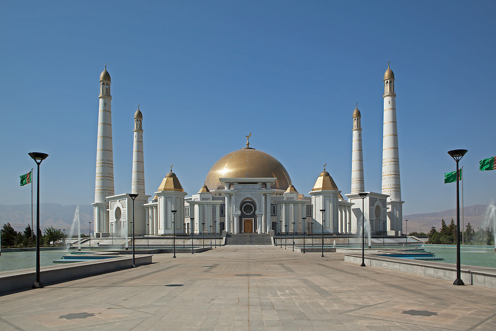 Turkmenbashi Ruhy Mosque or Gypjak Mosque, with a capacity of 10000 people, Ashgabat, Turkmenistan