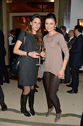 Left to right, DOMITILLE RAMBAUD and LUDMILA HUNDEROVA at a reception hosted by Wei Koh founder of The Rake Magazine and Thomas Kochs General Manager of Claridge's to celebrate London Collections: Man 2014 at Claridge's, Brook Street, London on 5th January 2014.