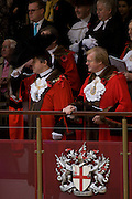 Newly-elected Alderman and Rt Hon The Lord Mayor of London, Roger Gifford (L), a merchant banker with Swedish bank SEB during the Lord Mayor's Show. He is the 685th in the City of London's ancient history. The new Mayor's procession consists of a 3-mile, 150-float parade of commercial and military organisations going back to medieval times. This is the oldest and longest civic procession in the world that has survived the Plague and the Blitz, today one of the best-loved pageants. Henry Fitz-Ailwyn was the first Lord Mayor (1189-1212) and ever since, eminent city fathers (and one woman) have taken the role of the sovereign's representative in the City - London's ancient, self-governing financial district. The role ensured the King had an ally within the prosperous enclave.