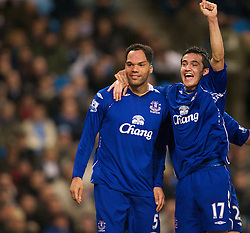 MANCHESTER, ENGLAND - Monday, February 25, 2008: Everton's goalscorer Jolean Lescott celebrates scoring the second goal against Manchester City with team-mate Tim Cahill (R) during the Premiership match at the City of Manchester Stadium. (Photo by David Rawcliffe/Propaganda)