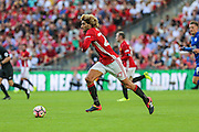 Marouane Fellaini Midfielder of Manchester United on the ball during the FA Community Shield match between Leicester City and Manchester United at Wembley Stadium, London, England on 7 August 2016. Photo by Shane Healey.