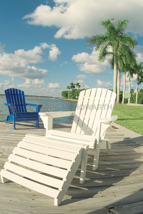 Adirondack chair on dock