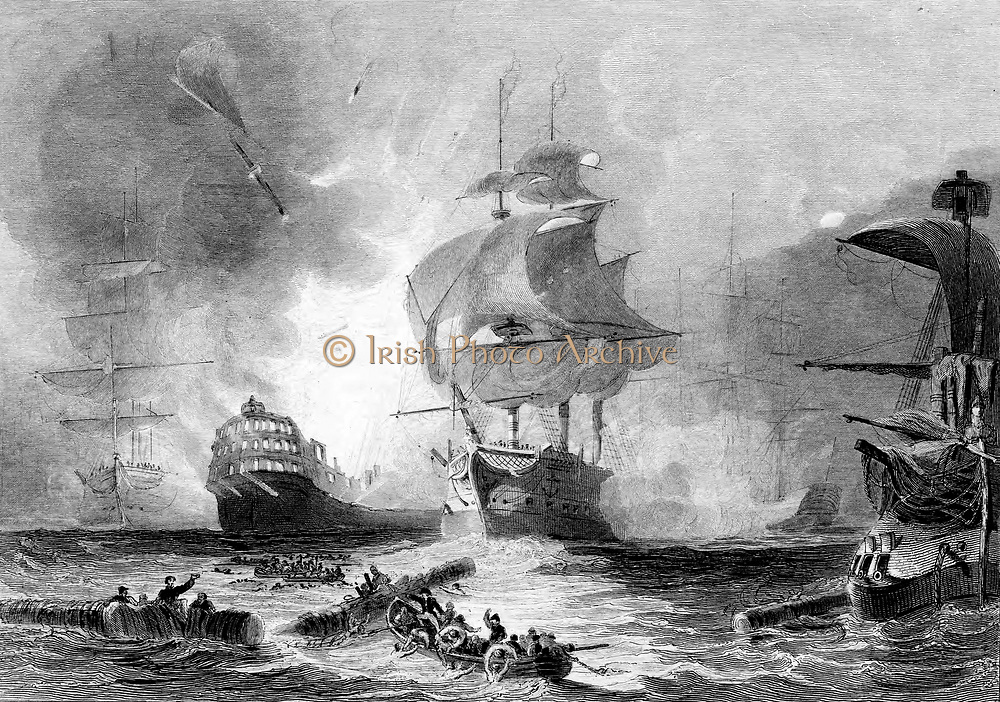 Battle of the Nile, 1 August 1798. English fleet under Nelson destroyed French fleet in Abuokir or Abu Qir Bay. Battle fought at night. French vessel 'L'Orient' exploding at about 10 o'clock. Engraving