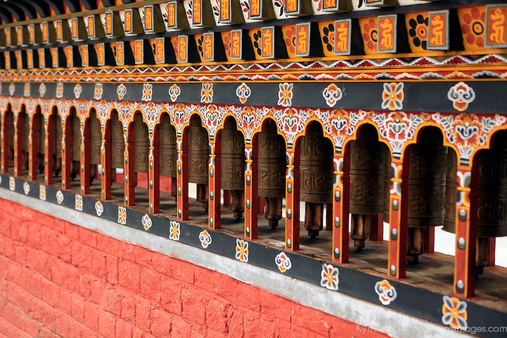 Asia, Bhutan, Thimpu. Prayer Wheels of the cnetral square in Thimpu.