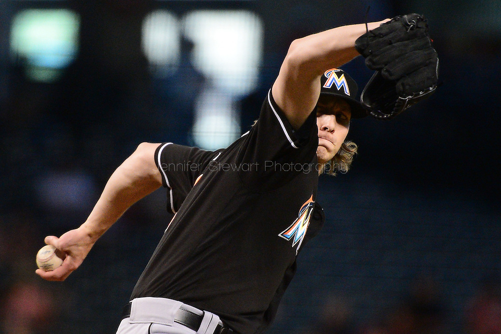 PHOENIX, AZ - JUNE 12:  Adam Conley #61 of the Miami Marlins delivers a pitch in the first inning against the Arizona Diamondbacks at Chase Field on June 12, 2016 in Phoenix, Arizona.  (Photo by Jennifer Stewart/Getty Images)