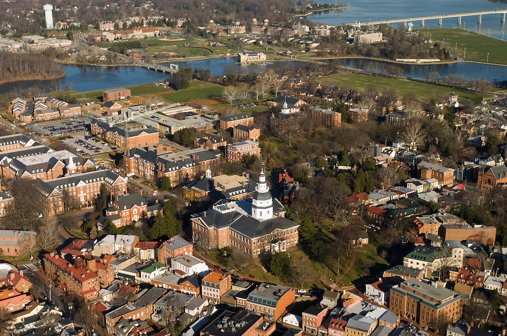This Aeriel view of Historic Annapolis, Maryland USA, includes the Maryland State House. The Maryland State House is the oldest state house still in legislative use. It was designated a National Historic Landmark in 1960.