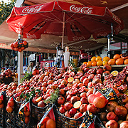 Storefront selling fresh pomegranite and orange juice on the streets of Istanbul, Turkey.