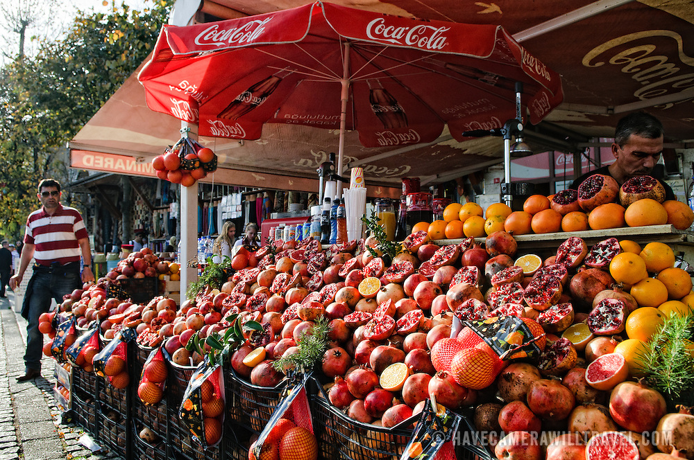 Storefront selling fresh pomegranite and orange juice on the streets of Istanbul, Turkey.