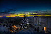 Lower Plaza of the Basilica of St. Francis during sunset at Christmas reveals a life-size nativity creche and Christmas tree.  Piazza Inferiore San Francesco | Assisi Perugia, Italia.