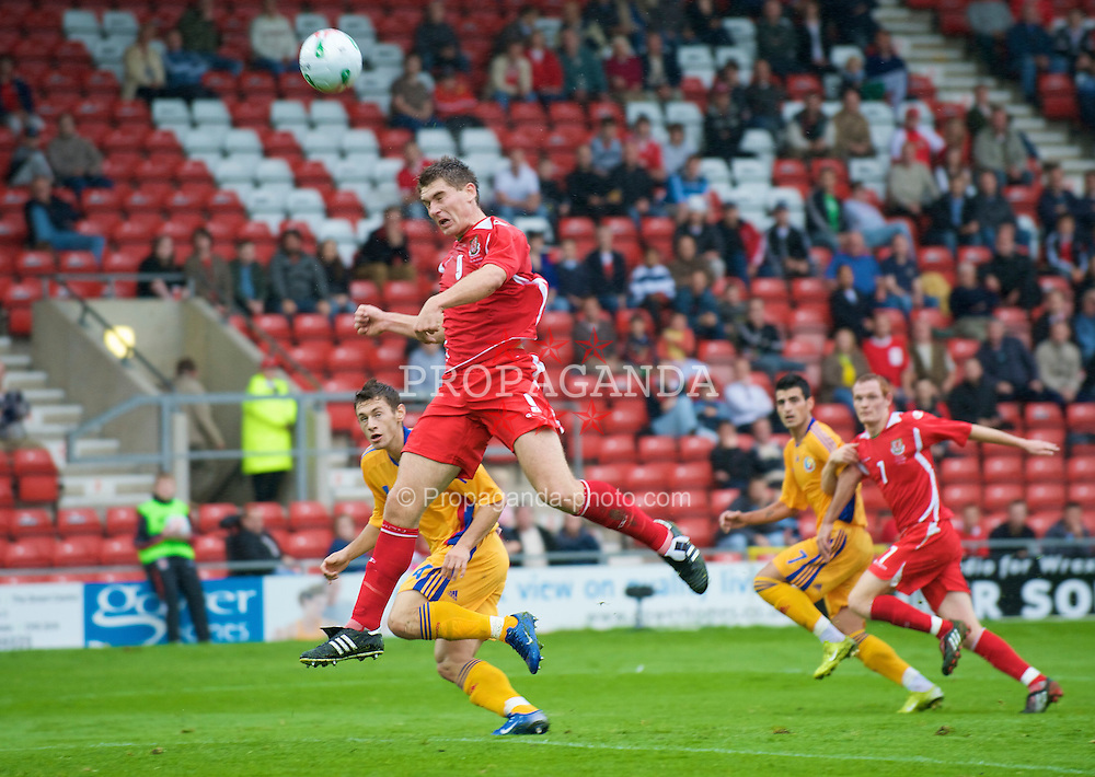 WREXHAM, WALES - Wednesday, August 20, 2008: Wales' Sam Vokes in action against Romania during the UEFA Under 21 European Championship Qualifying Group 10 match at the Racecourse Ground. (Photo by David Rawcliffe/Propaganda)
