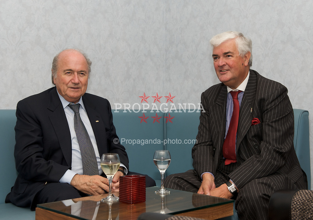 CARDIFF, WALES - Wednesday, September 9, 2009: FIFA President Joseph Sepp Blatter and Football Association of Wales' General Secretary David Collins after the opening of the Wales national team training pitch ahead of the FIFA World Cup Qualifying Group 3 match against Russia. (Pic by David Rawcliffe/Propaganda)