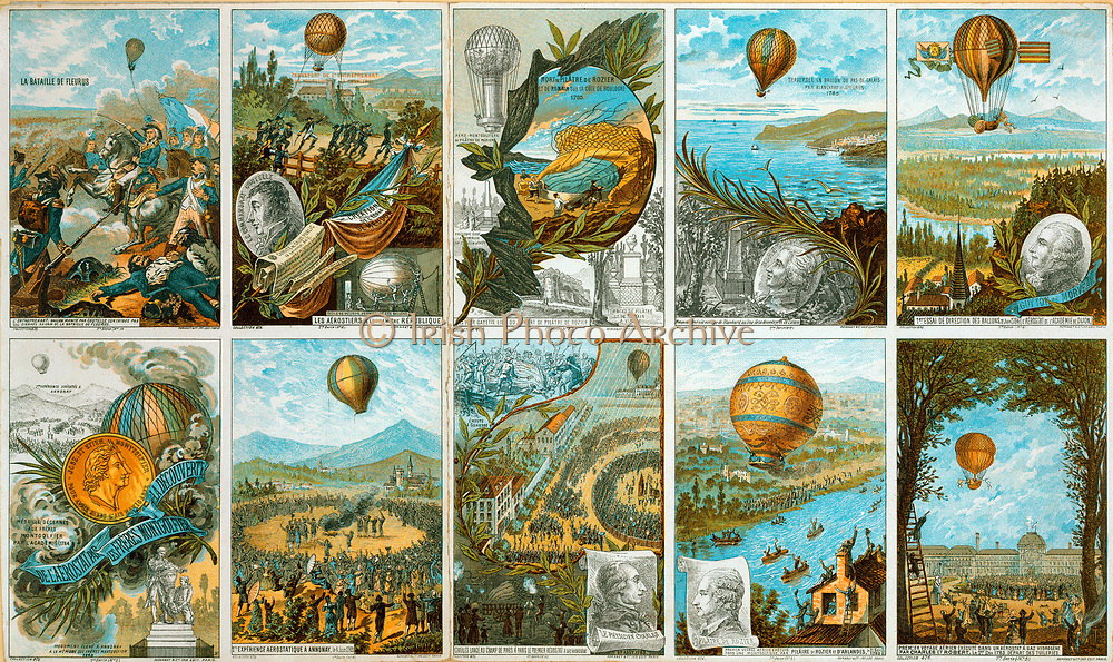 Set of French collecting cards on ballooning to mark the centenary of the Mongolfier Brothers' first flight in 1783, with scenes of early French balloon flights. Chromolithograph Aviation Aeronautics Flying