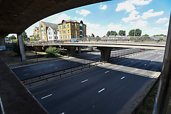 © Licensed to London News Pictures. 07/07/2018. LONDON, UK. As the nation watches the England v Sweden World Cup quarter-final on live on television, the normally very busy A406 North Circular near Brent Cross is almost devoid of traffic.  Photo credit: Stephen Chung/LNP
