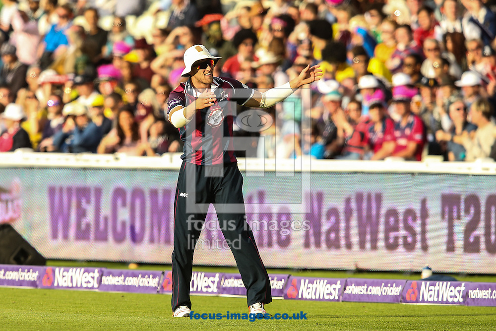 David Willey of Northants Steelbacks interacts with the crowd during the Natwest T20 Blast Final at Edgbaston, Birmingham<br /> Picture by Andy Kearns/Focus Images Ltd 0781 864 4264<br /> 29/08/2015
